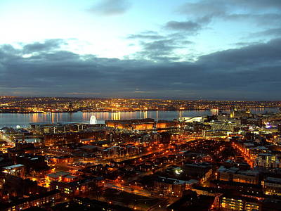 Liverpool City And River Mersey Print by Steve Kearns