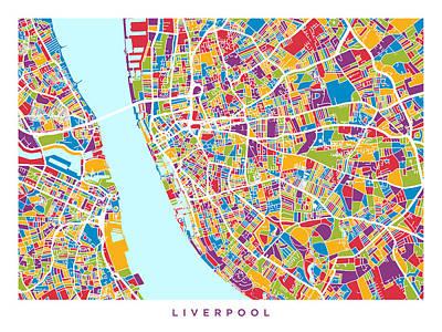 Retro Abstract Digital Art - Liverpool England City Street Map by Michael Tompsett