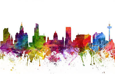 Liverpool England Cityscape 06 Print by Aged Pixel