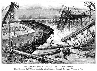 Storm Drawing - Liverpool Shipwreck 1887 by Granger