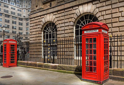 Old Phone Booth Photograph - Liverpool Telephone Boxes by Georgia Fowler