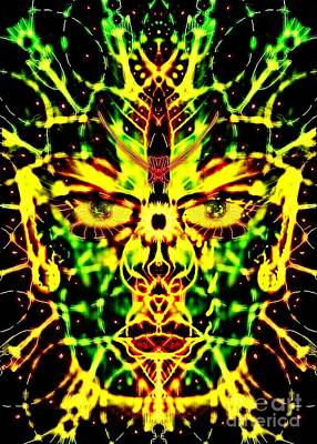 Gaia Digital Art - Living Face Of Gaia by Michael African Visions