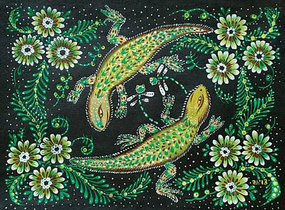 Salamanders Painting - Lizards by Mariia Taylor