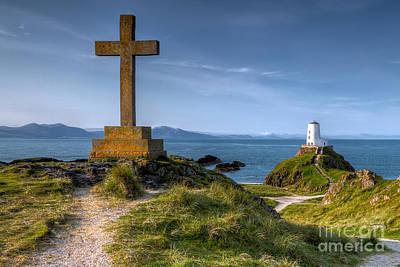 Anglesey Digital Art - Llanddwyn Cross by Adrian Evans