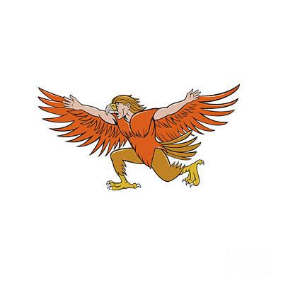 Lleu Llaw Gyffes Spread Eagle Cartoon Print by Aloysius Patrimonio