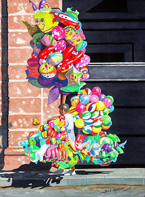 Balloon Vendor Painting - Loaded Up by Don Harvie