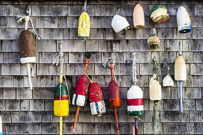 Lobster Buoys On Wall, York, Maine Print by Steven Ralser