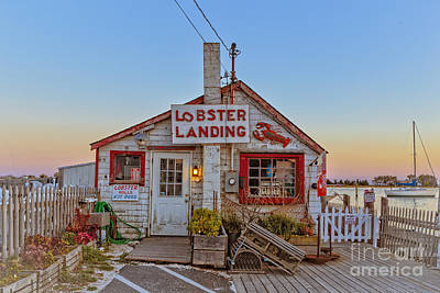 Maine Shore Photograph - Lobster Landing Sunset by Edward Fielding