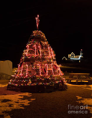 Decorated For Christmas Photograph - Lobster Trap Christmas Tree At Nubble by Patrick Fennell