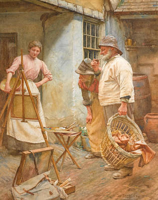 Walter Langley Drawing - Local Critics by Walter Langley