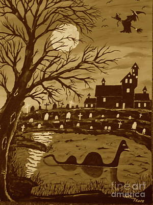 Moon With Bats Painting - Loch Ness Monster On Halloween by Jeffrey Koss