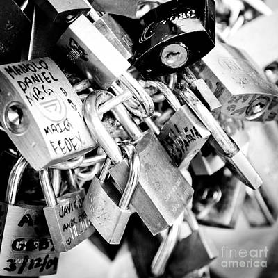 Lock Wishes Padlocks On The Saint Angelo Bridge Ponte Sant Angelo Rome Italy Print by Andy Smy