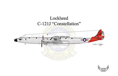 Constellation Digital Art - Lockheed C-121j Constellation by Arthur Eggers