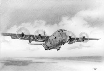 C130 Drawing - Lockheed C-130 Hercules by Erika Chircop