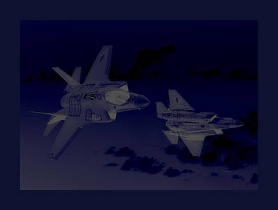 Lockheed Martin F-35 Joint Strike Fighters During Joint  Military Exercises In A Forward Area Border Print by L Brown