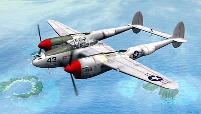 Warbird Mixed Media - Lockheed P-38 Lightning by Walter Colvin