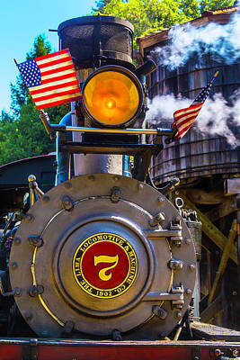 Old Trains Photograph - Locomotive And American Flag by Garry Gay