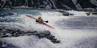 Canoe Waterfall Painting - Locust Fork Fall by Bill Brown