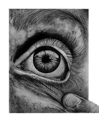 Eye Lashes Drawing - L'oeil by Jody Roun