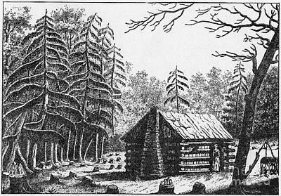 Fir Trees Photograph - Log Cabin, 1826 by Granger