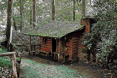 Frontier Farm Digital Art - Log Cabin In The Woods by James Fowler