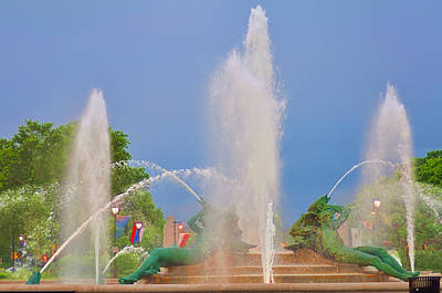 William Penn Digital Art - Logan Circle Fountain 2 by Bill Cannon