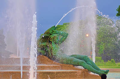 William Penn Digital Art - Logan Circle Fountain 3 by Bill Cannon