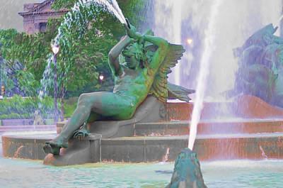 William Penn Digital Art - Logan Circle Fountain 4 by Bill Cannon