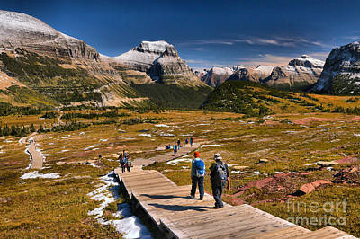Logan Pass Hikers Print by Adam Jewell