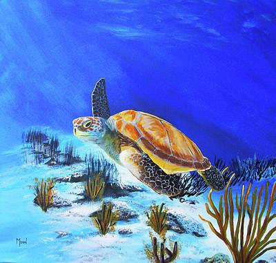 Hawaii Sea Turtle Painting - Loggerhead Sea Turtle by John Moon