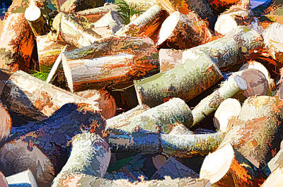 Snow Piles Painting - Logs 2 by Lanjee Chee