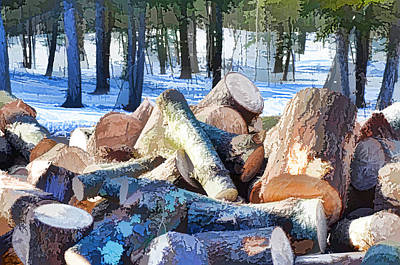 Snow Piles Painting - Logs 3 by Lanjee Chee