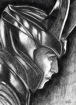 Thor Drawing - Loki by Eva Stejskalova