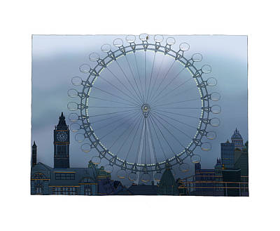 London Eye Drawing - London by Adrian Whitney