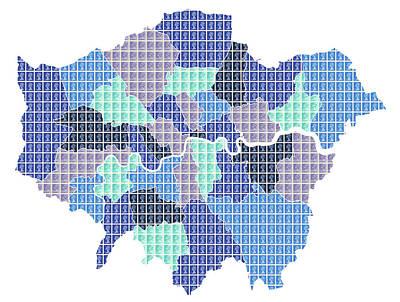 London Boroughs Map - Blue Original by Gary Hogben