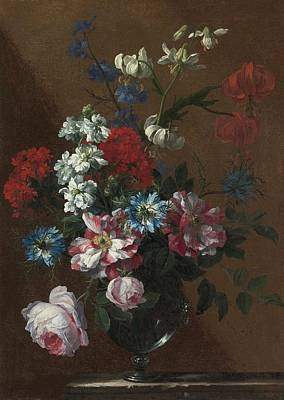 London Bouquets Of Flowers In Glass Vases  Print by Jean Baptiste