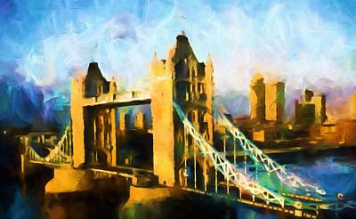 Large Mixed Media - London Bridge Abstract Realism by Georgiana Romanovna