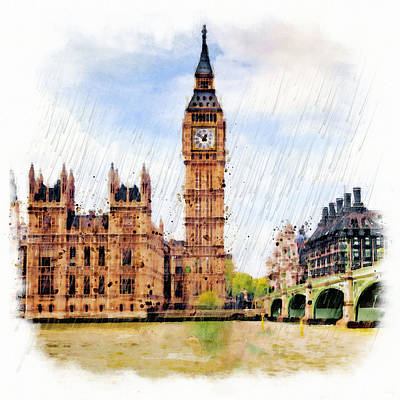 Scenery Art Mixed Media - London Calling by Marian Voicu