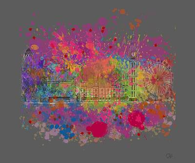 London Eye Painting - London Colour by Dave H