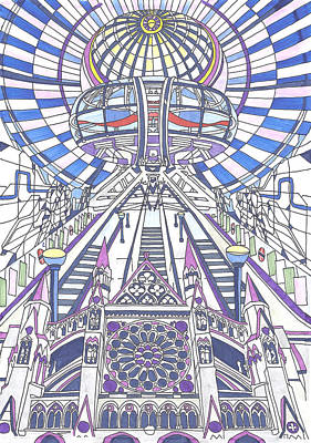 London Eye Drawing - London Composition 2 by Ushma Sargeant