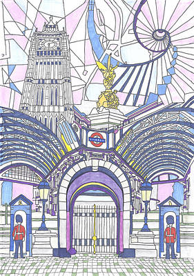 London Eye Drawing - London Composition 3 by Ushma Sargeant