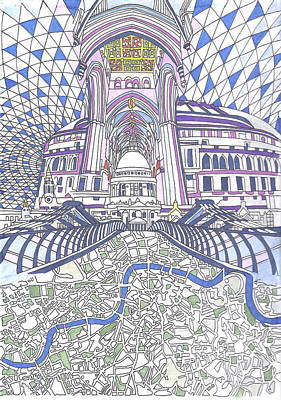 London Eye Drawing - London Composition 4 by Ushma Sargeant