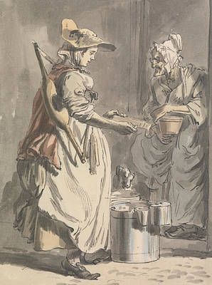 Woman Crying Painting - London Cries - A Milkmaid by Paul Sandby