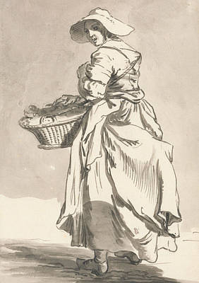 Crying Drawing - London Cries - Flowers by Paul Sandby