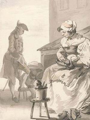 Crying Drawing - London Cries - Shoe Cleaner by Paul Sandby