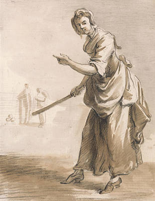 Paul Drawing - London Cries - Throws For A Ha'penny Have You A Ha'penny by Paul Sandby