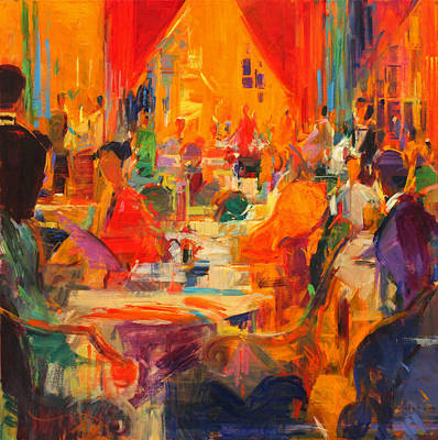 Blue Table Painting - London Elegance by Peter Graham