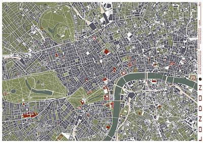 Hyde Park Digital Art - London Engraving Map by Jasone Ayerbe- Javier R Recco