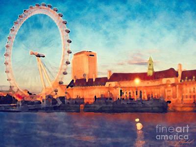London Eye Painting - London Eye At Sunset by Jude Michael