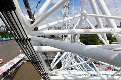 Rotate Photograph - London Eye Construction, Mechanism As Seen From The Capsule. London, Uk by Michal Bednarek